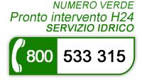Pronto intervento H24 servizio idrico 800 533 315